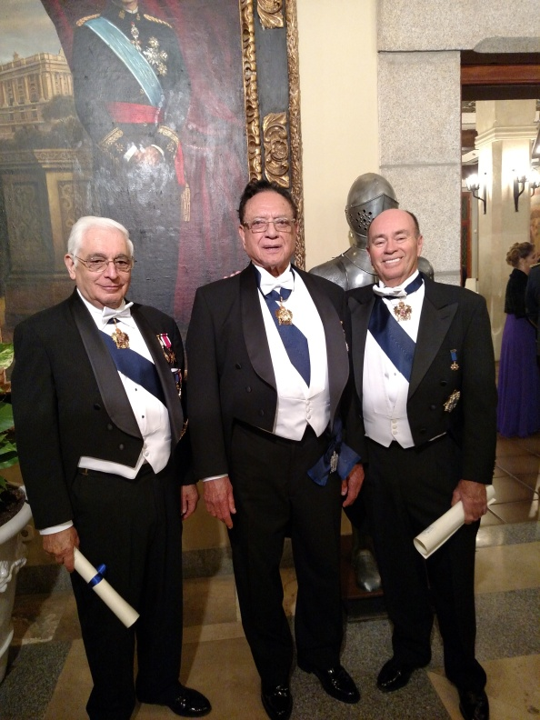 Salvador, Luis and Larry after ivestiture and receiving diplomas, Nov. 14, 2015, Alcazar, Segovia